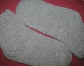 SALE! Hand Knitted Unisex Socks Light Grey Extra Warm Wool Acrylic