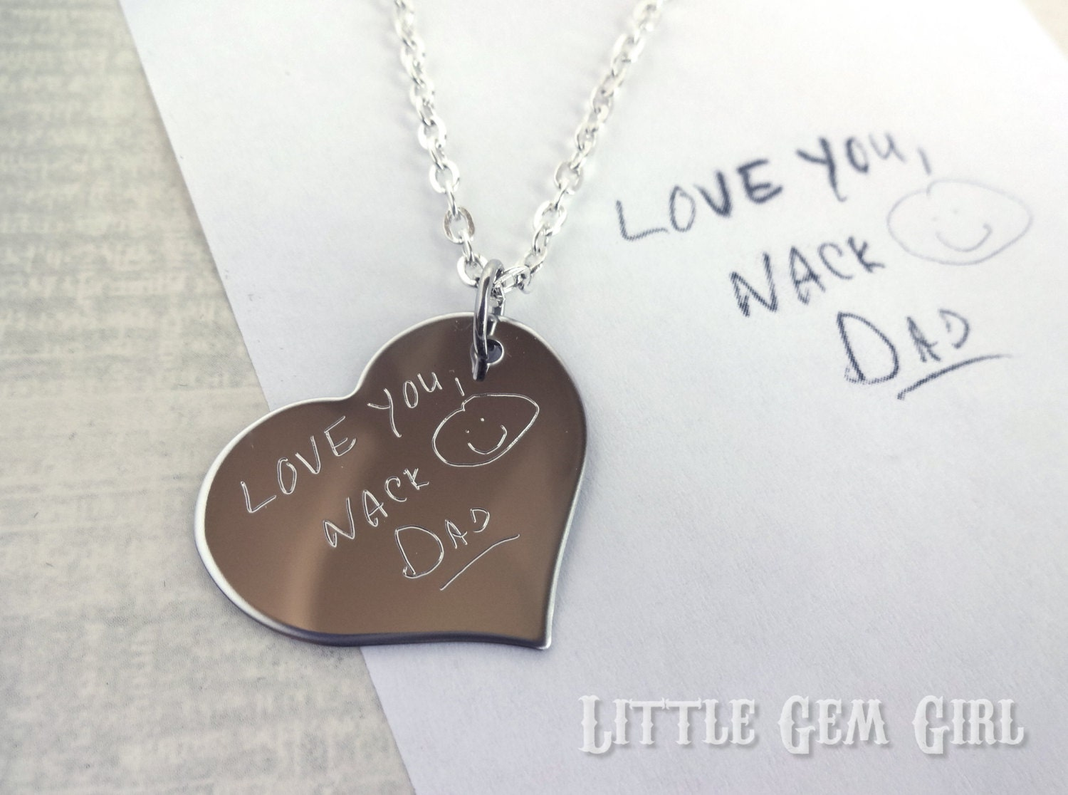 Engraved Custom Handwriting Necklace Personalized With Your