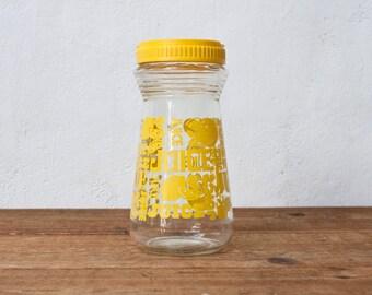Vintage Lemon Juice Pitcher - Yellow Twist Cap Bottle Vintage Pitcher Dispenser Dispensor Vintage Glass Jar