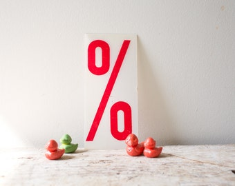 Vintage Percent Sign - Red Marquee Plastic Number Percentage Percent Sign