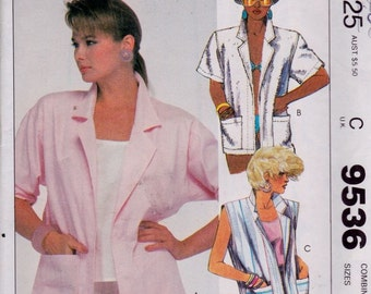 McCall's 9536 Misses' Jacket Pattern, UNCUT, Size 10-12-14, Vintage, Retro, 1985, Beach Cover Up, Sleeveless