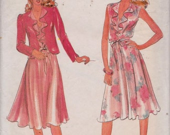 Butterick 3573 Misses' Jacket and Dress Pattern, UNCUT, Size A 8-10-12, Retro, Flashback, 1970's, Summer, Wedding