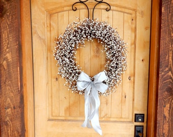 Wedding Decor-White Wedding Wreath-Weddings-SILVER & WHITE Wreath-White Pearl Wreath-Shabby Chic Wedding-Winter Weddings-Summer Wedding