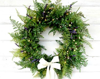Fern Wreath-Summer Wedding Wreath-PURPLE & WHITE FERN Wreath-Front Door Decor-Garden Wedding-Country Chic Home Decor-Scented Wreath-Custom