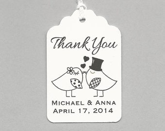 100 Lovebirds Thank You  Personalized Handmade Tags-Wedding Wish Tags-Honey/Jam tags-Favor tags