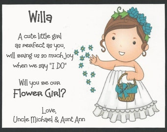 BRUNETTE Willa - Will you be my Flower Girl Flat card - Personalized custom