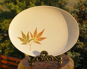 Franciscan Twice Nice Platter whitestone Japanese maple leaf