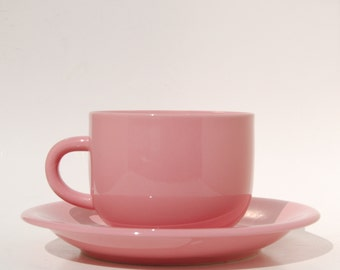 Newcor Pink Coffee Cup Saucer Stoneware pretty in Pink