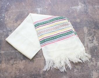 Cream Boho Scarf / Vintage Southwest Scarf / Embroidered Neckwear