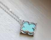 Clover Lucky Mint Green Blue Simple Dainty Sterling Silver Necklace Trefoil Light Turquoise Blue