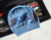 Men's Beanie - Light and Thin Hand Knit Medium and Dark Blue Gray Brown Beige Striped Wool Men's Hat (Ready to Ship)