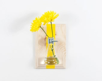Bud Vase, Modern Wall Vase, Natural Wood with Stripe  - Science Chic, Glass Flask, Yellow, Custom Color Options