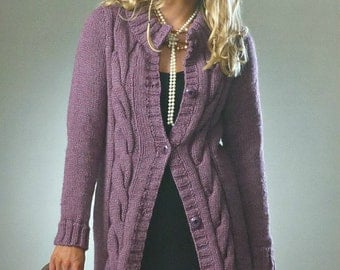 Womens Knitting Pattern K3437 Ladies Long Sleeve Long Cable Cardigan Knitting Pattern Chunky (Bulky) King Cole