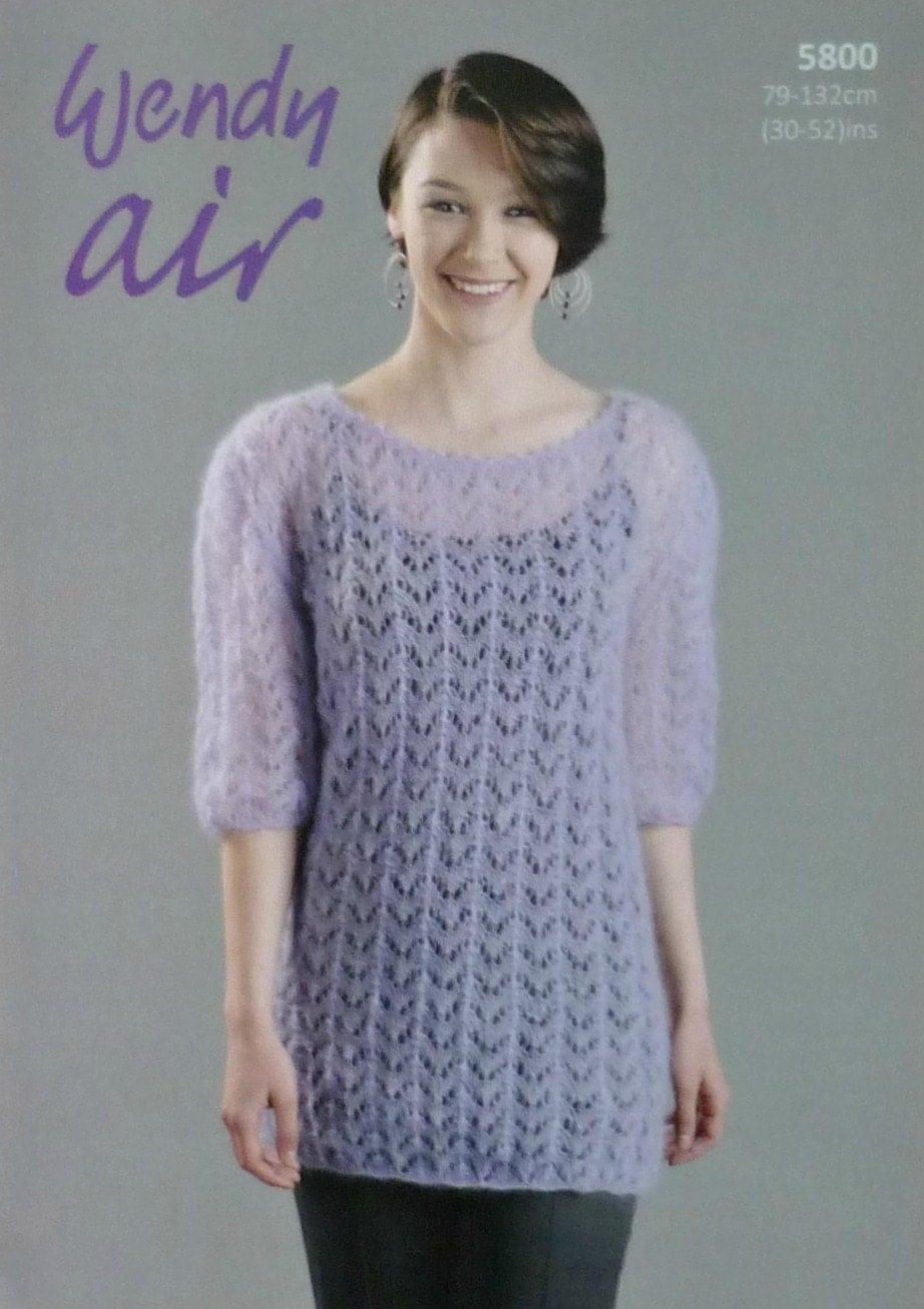 Plus Size Knitting Patterns : Womens Knitting Pattern W5800 Ladies Long Lacy Jumper/ Top/Tunic inc Plus Siz...
