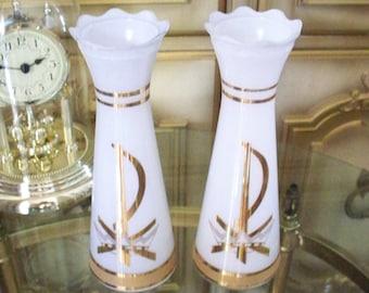 BRILLIANT BRISTOL GLASS Vase Pair White Gold Crown Design Slender Vase Chi Rho Symbol