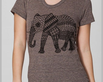 Boho Indian Tribal Print Elephant Tapestry Women's T Shirt American Apparel Tee S, M, L, XL