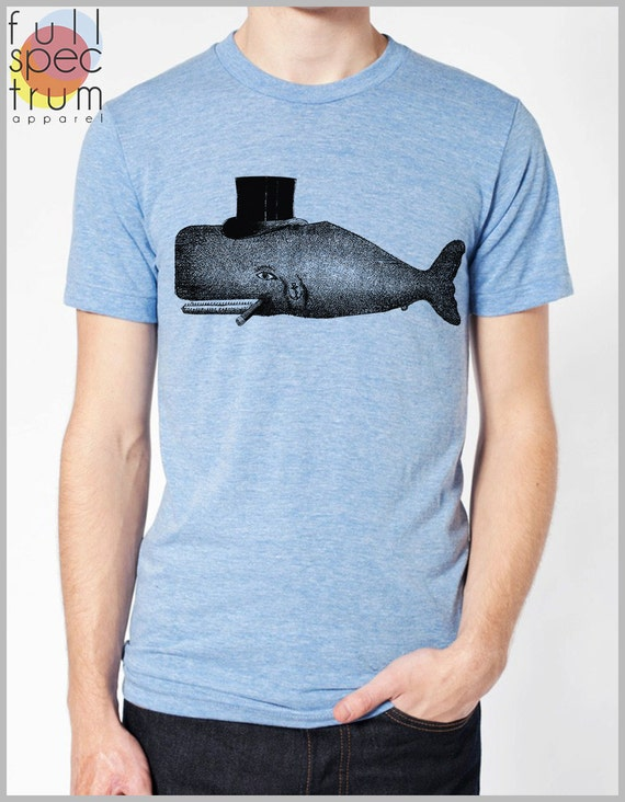 Vintage Whale Tee Top hat Unisex T Shirt American Apparel Mens Womens tshirt XS, S, M, L, XL 9 Colors Full Spectrum Apparel