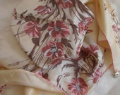"1970 Vintage Silk Scarf by Meucci Gianfranco  Pink Peony Floral Pattern 31"" Sq. Handrolled Edges"