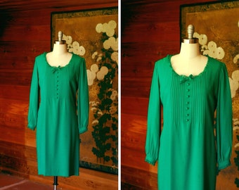 vintage 1960s dress / 60s green jonathan logan mod dress / size medium