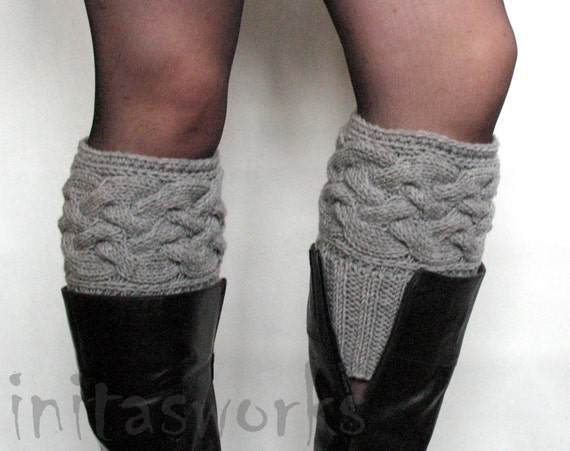 Gray Boot Cuff Boot Toppers Leg Warmers Boot Socks Knit Legwarmers Cable Knitted