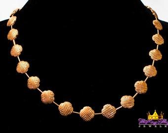 Rare Vintage Copper Celtic Patterned Necklace