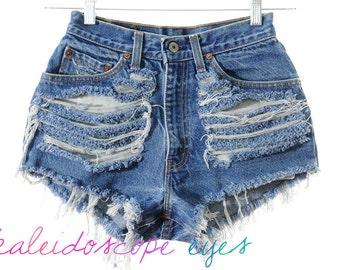 Vintage Levis DESTROYED High Waist TRASHED Blue Denim Cut Off Shorts XS
