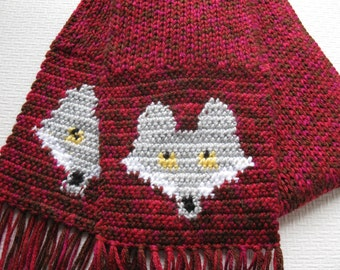 Knitted Fox Scarf.  Red knit animal scarf with silver crocheted foxes. Knit fox scarves