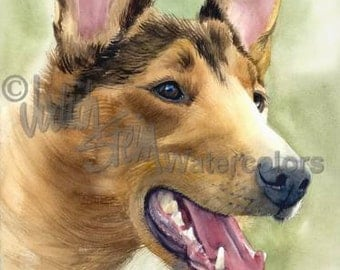 """Collie, Smooth Coat, AKC Herding, Pet Portrait Dog Art Giclee Watercolor Painting Print, Wall Art, Home Decor """"Woof to Watch"""" Judith Stein"""