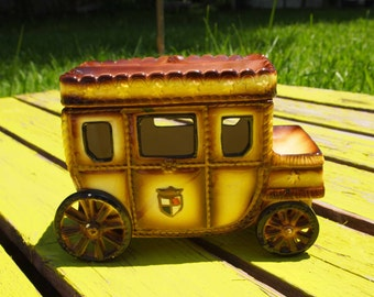 Carriage, Ceramic Keepsake, SWANK English Coach, Valet for Men, English Carriage Car, Men's Jewelry Box, Jewelry Catch All, Ceramic Box