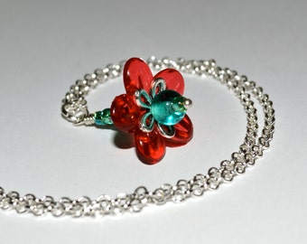 Red Flower Necklace, Beaded Flower, Red and Aqua, Floral Pendant, Flower Dangle Necklace, Modern Floral, Single Flower, Red and Green