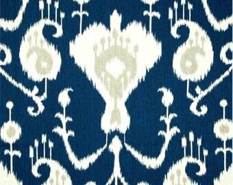 Java Ikat Navy Blue Curtains  Rod Pocket  63 72 84 90 96 108 or 120 Long by 24 or 50 Wide