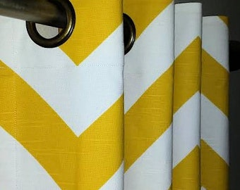 Grommet Top Curtains in Corn Yellow and White Zig Zag Chevron Zippy Drapery Panels Choose Your Length