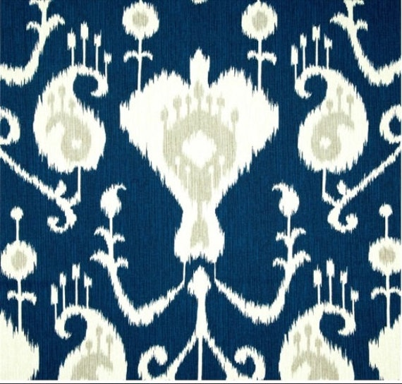 Curtains Ideas curtain panels 72 length : Java Ikat Navy Blue Curtains Rod Pocket 63 72 84 90 96 108