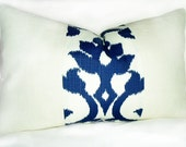 16x26 inch Lumbar Off White Burlap And Blue Off White Ikat - Pillow Pleasing - Decorative Pillows - Housewares