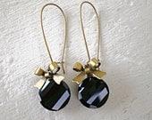 Jet Black Crystal Earrings/Black Earrings/Bow Earrings/Crystal Earrings/Gifts For Her/Long Earrings/Black Crystal Earrings/Coin Earrings