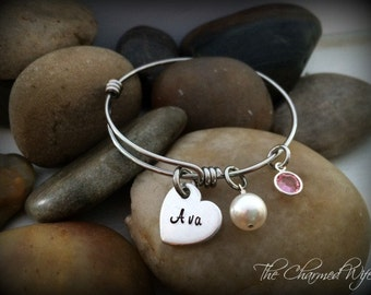 Little Girls Adjustable Bangle Bracelet - Gifts for Little Girls - Boutique Jewelry - Personalized adjustable Bangles - The Charmed Wife -