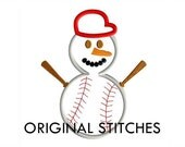 Baseball Snowman Applique and Machine Embroidery Digital Design File 4x4 5x7 6x10 7x11
