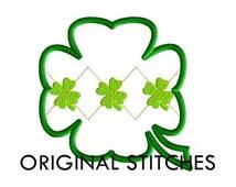 Four Leaf Clover Argyle Applique and Machine Embroidery Digital Design File 4x4 5x7 6x10 7x11