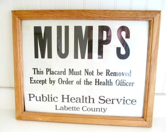 Vintage Mumps Medical Quarantine Sign, Framed Black and White Industrial Sign, Labette County Kansas, Medical Home Decor