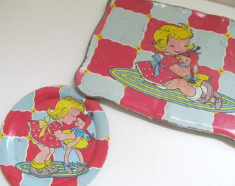 Vintage 1950s Tin Litho Toy Dish and Platter Tray with Cute Girl and Doll, Doll Plates and Cups, Collectible Classic Toy