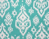 Two  26 x 26 Custom  Designer Decorative Pillow Covers Euro Shams - Large Ikat Jade