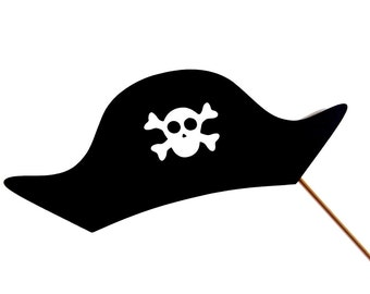 Pirate Hat Photo Booth Prop - Pirate Hat on a stick - Birthdays, Weddings, Parties, Halloween - Great Photobooth Props