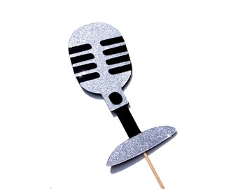 Photo Booth Props - GLITTER Vintage Microphone - Silver - GLITTER Photobooth Props