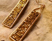 Obelisk Earrings In Bronze Myuki Seed Beads and 14K Gold Fill Fall 2014 Pantone Colors. Made to order.