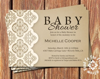 Shabby Chic Baby Shower Invitations