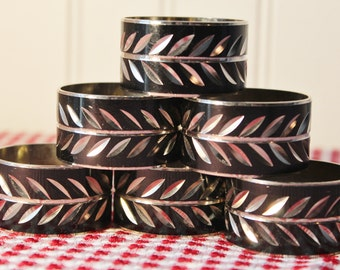 Napkin RIngs Black and Silver 6