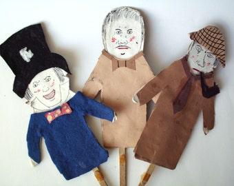 Vintage Handmade Popsicle Stick Puppets, Sherlock Holmes, Mad Hatter & Friend
