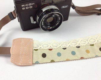 DSLR Camera strap (leather and webbing)---Lace style 17---dots---beige
