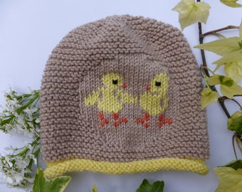 BABY KNITTING PATTERN in pdf - Chirpy Chicks Baby Hat
