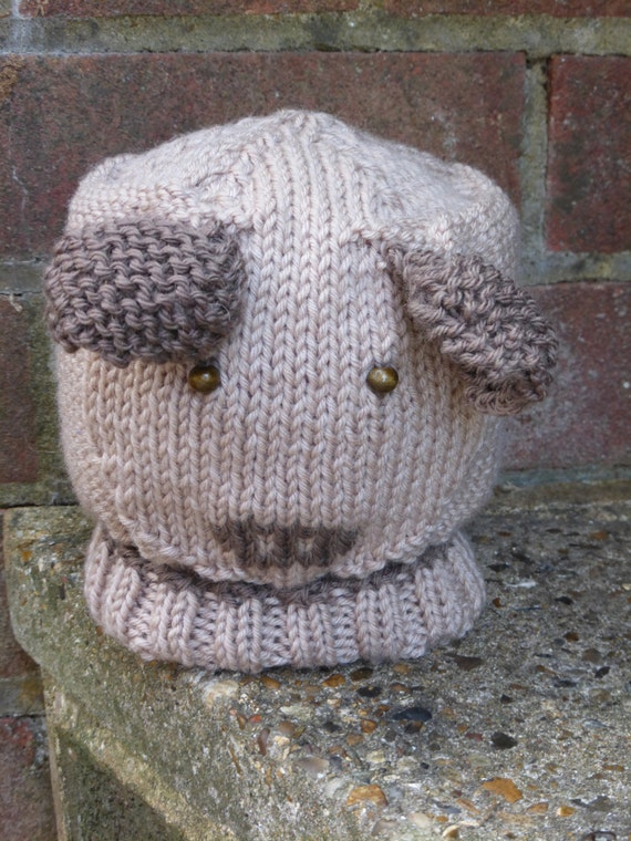 Knitting Pattern Hat Dog : BABY KNITTING PATTERN in pdf Puppy Dog Baby Hat